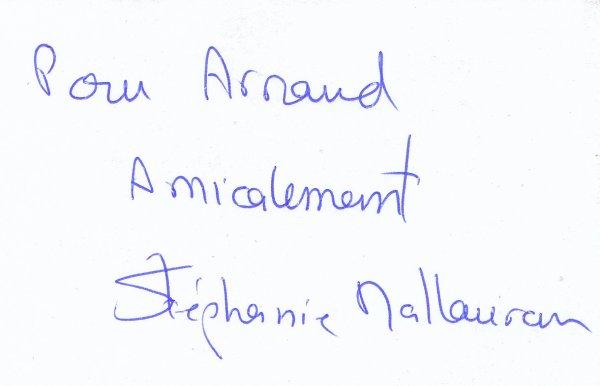 Autographe de Stéphanie Mallauran