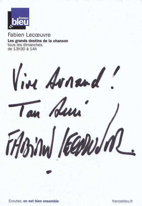 Autographes de Fabien Lecoeuvre