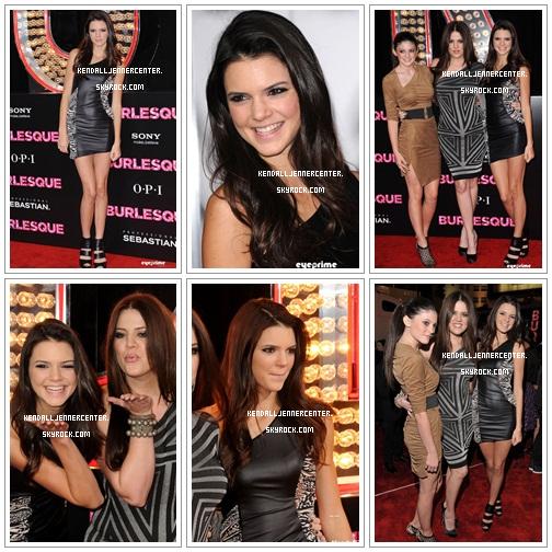 """15.11.2010. Kendall était présente à l'avant-première de """"Burlesque"""" au Grauman's Chinese Theatre à Hollywood en compagnie de Kylie et Khloe. Elle était sublime je trouve.  Et toi ? Comment la trouves-tu ? Et Kylie et Khloe ?"""