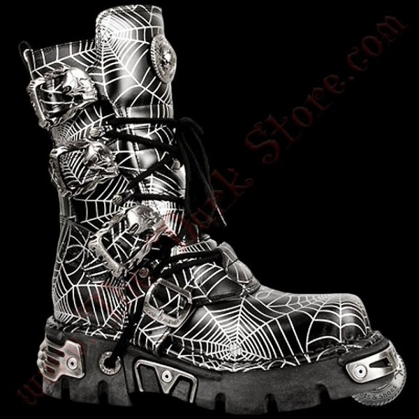 New Rock Black Spider Boots (391-R7)