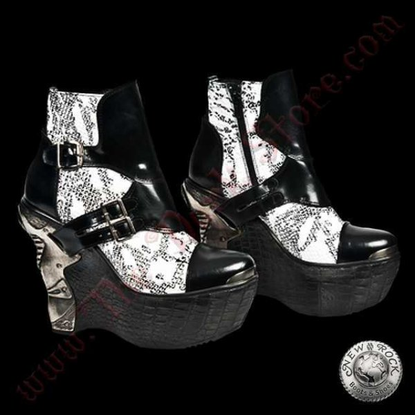 Bottines Femmes Black and White Snake (PZ001-L2)
