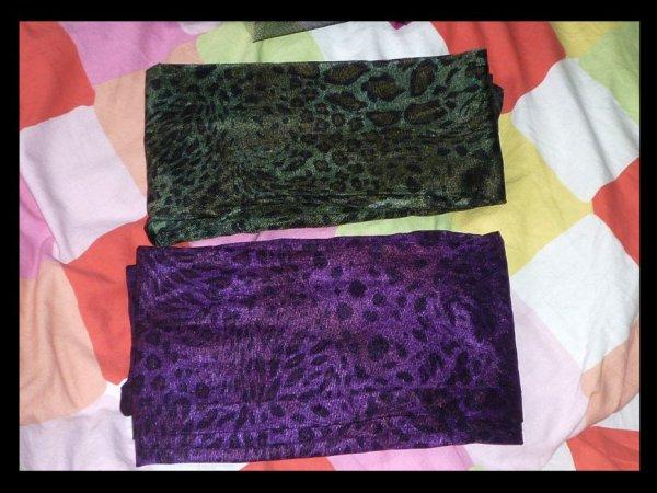 Leggings léopards violet et vert taille unique