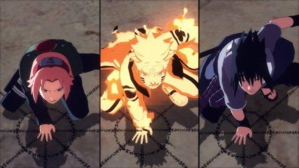 Sakura Haruno, Naruto Uzumaki, Sasuké Uchiwa.