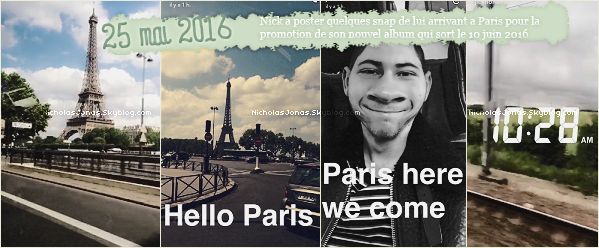 . . ___25 MAI 2016___..❝ Nick a envoyé quelques Snap, on le retrouve alors a Paris pour son disque ❞ Autre Informations de l'article. On le retrouve également en compagnie de quelques fans française. . .