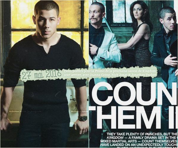 """. . ___27 MAI 2016___..❝ Deux Posters qui vont paraître dans le numéro du """" Emmy Magazine """"❞ Autre Informations de l'article. Pour la promo de la prochaine saison de Kingdom sur """" Direct TV """" . ."""