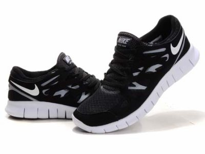 nike free run 2 black and white mens