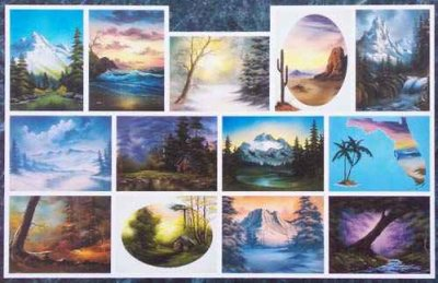 Apprendre à peindre avec Bob Ross, Vidéos et Tableaux.