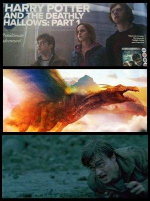 Scan inédit montrant le trio à Pres-au-Lard, et une bannière avec le dragon après la scène dans Gringotts !