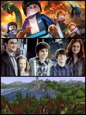 """Poster du jeux video lego : """" Harry Potter : Année 5 - 7 """", photo de la famille Potter au complet, et clichés de Poudlard dans le jeux """" les sims """" crée par un fan."""