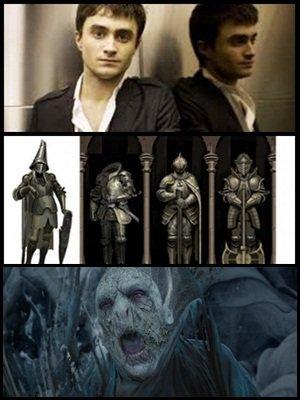 Video de Daniel Radcliffe jouant dans une parodie Harry Potter, des arts conceptuels sur les objets des films, et des croquis sur la mort de Voldemort!