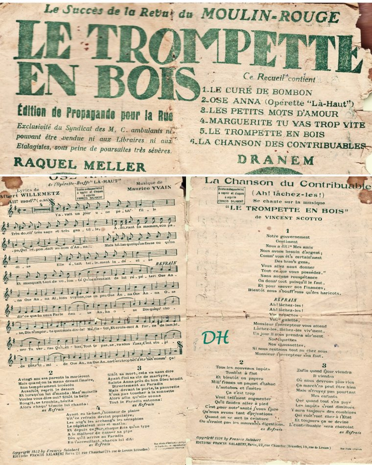 "Document ancien ""Le trompette en bois..."""
