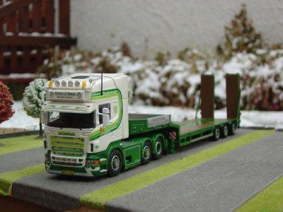 Scania R. Tekno  Remorque Benne Plateau, rampes mobiles , allongement du chassis , essieux directionnels
