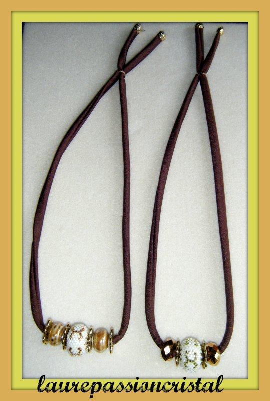 Une petite nouveauté qui peut se porter en collier, bandeau ou bijou de tête, le tissu étant élastique.