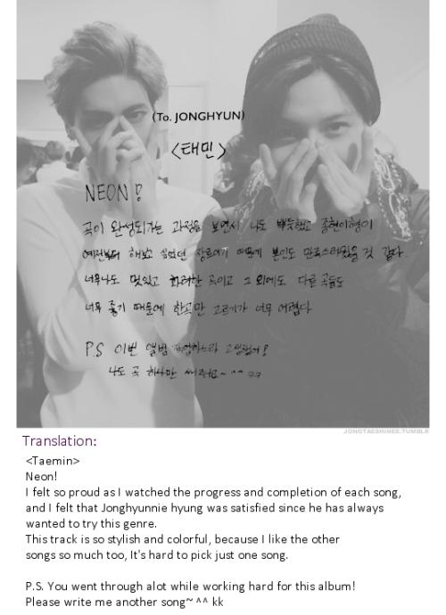 Message de TaeMin à Jonghyun. [ JongTae ]
