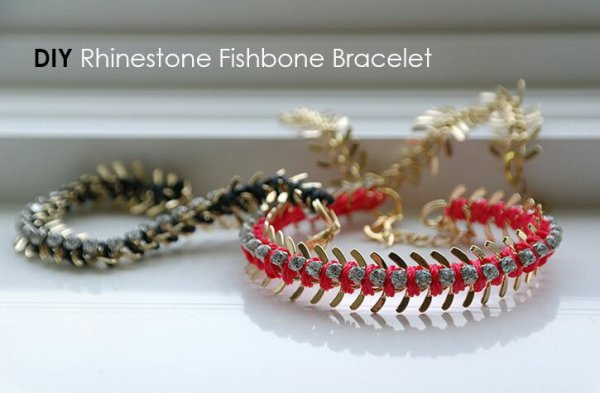 DIY Rhinestone Fishbone Chain Bracelet