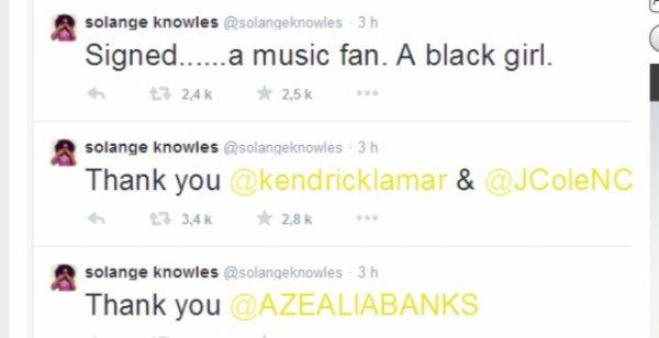 Solange Knowles soutien azelia bank sur le l'identité du hip hop