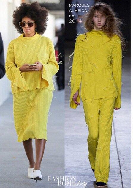 Solange Knowles :le jaune est sa couleur préférer!