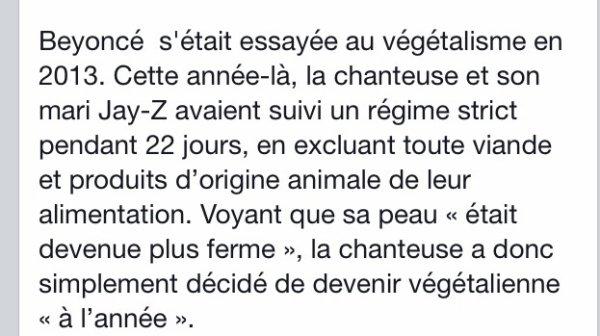 Beyonce annonce qu'elle est devenu végétalienne!
