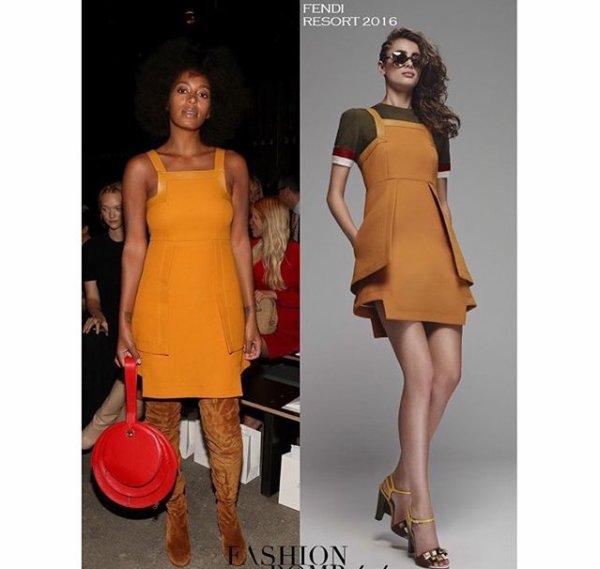 Quelques heures plus tôt, elle a été aperçue dans els rues de la Grosse Pomme en train de se rendre au défilé Zimmermann. Plus rétro que jamais, elle avait opté pour une robe orange très seventies, des cuissardes et un sac rouge en cuir !