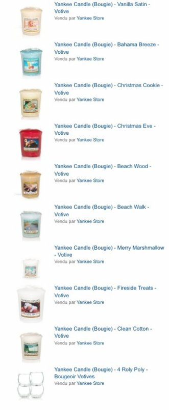 Commande yankee Candle