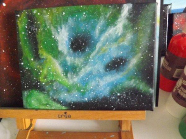 Nébuleuse tout juste terminer sur toile 18X24 peinture acrylique et faite à l'éponge .
