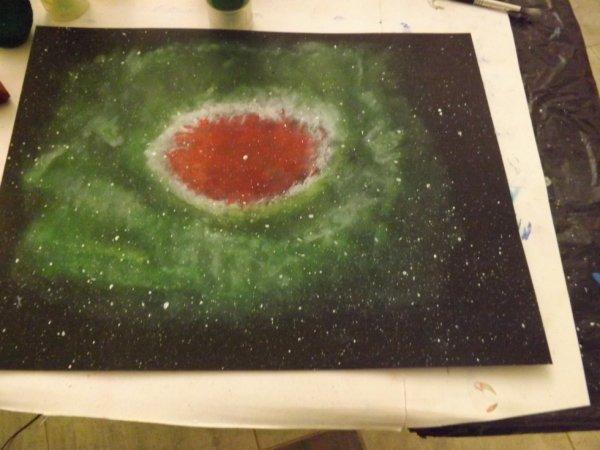 Nébuleuse 24X32  peinture acrylique .