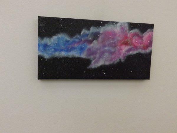 <3 Nébuleuse colorée <3 Toile acrylique peinte à l'éponge 15x30 <3