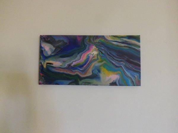 """Peinture abstraite acrylique technique """" fluide pouring"""""""