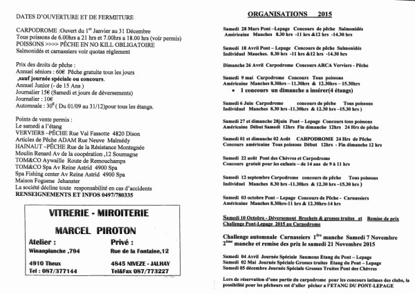 Règlement 2015 Etang du Pont Lepage et Carpodrome de Nivezé!