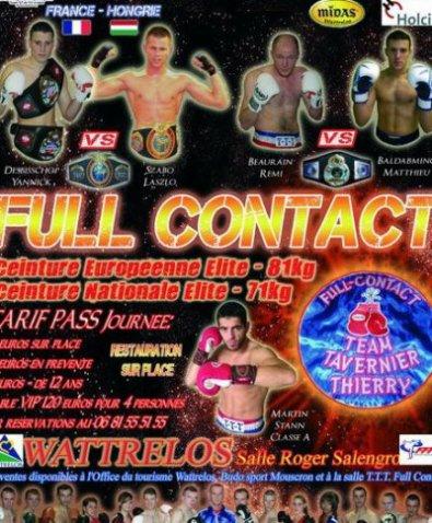 GALA DE FULL CONTACT à Wattrelos (nord) 8/01/2011