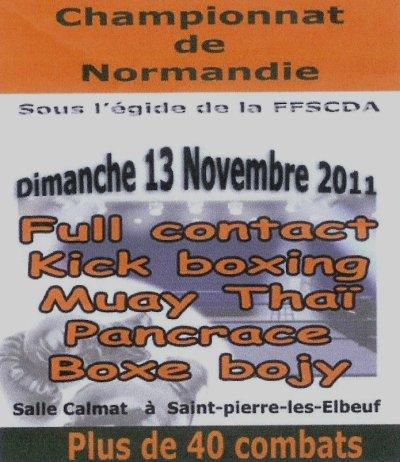 Gala de full contact le 12 novembre et Championnat de Normandie Multiboxes le 13 Novembre 2011
