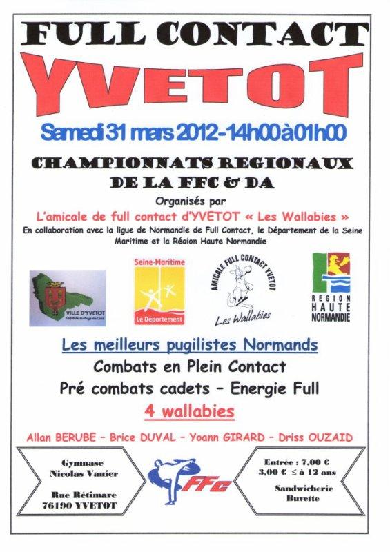 Chpt régional A/B/C et JR de full contact FFFC et Da à Yvetot 76 samedi 31 mars