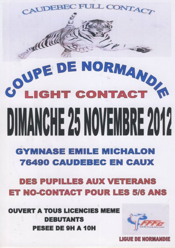 Gala de full contact à Pt Mars le 24 NOV et coupe de normandie FFFC et da le 25 NOV