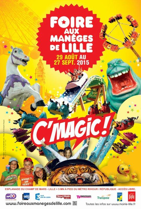 """Affiche officielle """"Foire aux manèges d'été Lille 2015"""""""