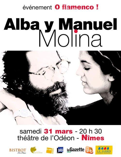 Alba y Molina pour la première fois en France à Nîmes le 31 mars 2012 à 20h30.. Ce duo, inventeur d'un style à la fois original et très flamenco,