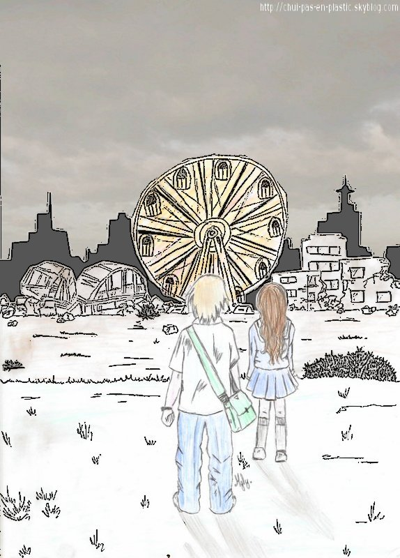 """. """"La grande-roue brillait au-dessus de la ville en ruine.Tu sais, je crois qu'elle priait pour  nous.C'est un peu effryant de se retrouver seuls au monde,Mais savoir que tu serais """"le dernier survivant"""" ave moi, me réchauffa le coeur.Après tous, un monde juste pour toi et moi, ne peutpas être si mal..."""" © Myly - All Rights Reserved Broken heart"""