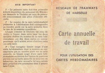 carte de transport et de travail de mon père AKLI MOHAND allah irrahmou en 1952
