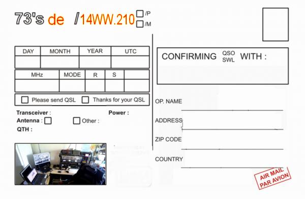 QSL de 14WW.210 NICE FRANCE