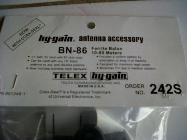 ANTENNE Balun 1: 1 Marque HyGain BN gamme 86 Freq de 1,2 à 30 MHz