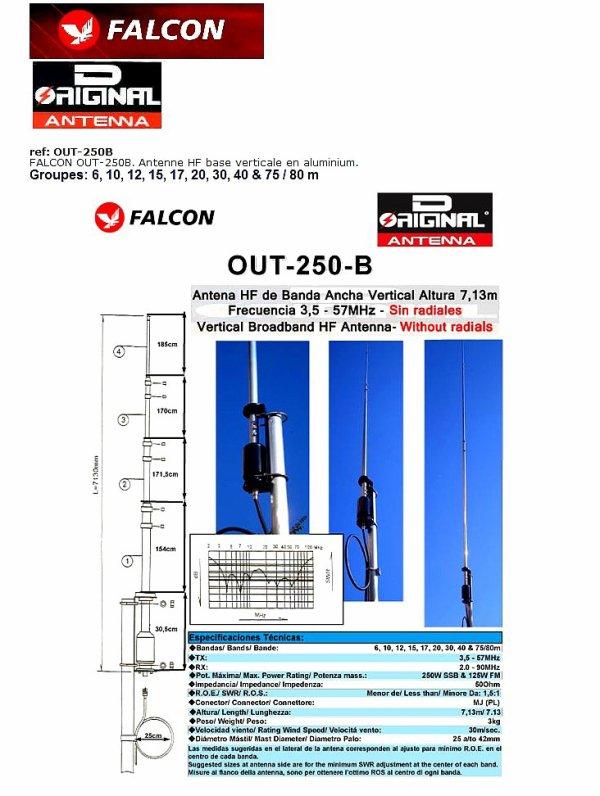 OUT250B, ALUMINIUM base de l'antenne 9 bandes