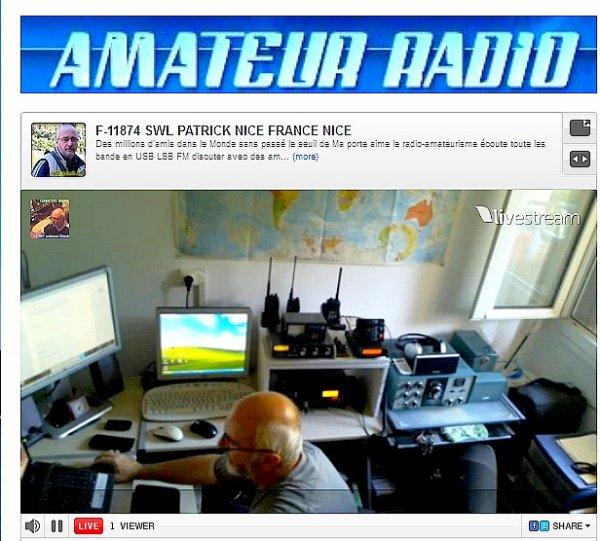 F-11874 SWL PATRICK NICE FRANCE NICE video Live Amateur Radio son et vidéo