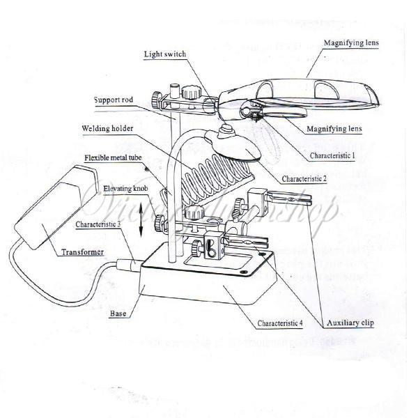 5 LED Loupe 10X Pince Troisième Main Electronique Pour Soudage Souder Réparation