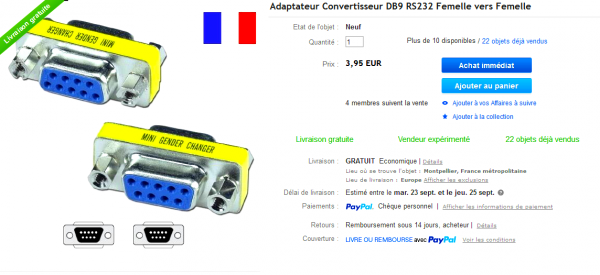 Câble Adaptateur Convertisseur USB Vers Série DB9 RS232 XP VISTA WINDOWS 7 8 8.1