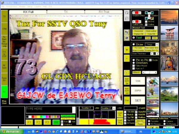 très tres Belle image SSTV RX  595 analogique 30/09/2014 10H15  le matin