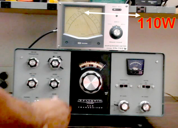 après avoir fait la soudure qui été dessoude l'étage finale transceiver HEATHKIT H W-101   Test    fait   un peu 100w a 110w test fait en charge fictive sur FC-700 YAESU MUSEN