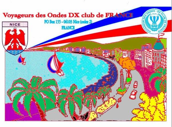 VOYAGEUR des ONDES radio club F6KRD QSL POUR NICE 1989