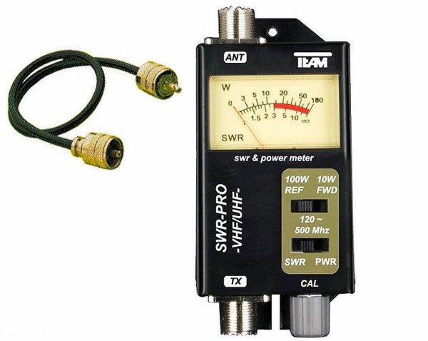 """SWR-PRO TEAM UHF / VHF SWR 120 - 500 MHz et 10 / 100 Watt PL avec câble de raccordement de 50 cm   ÉQUIPE PRO SWR UHF / VHF (PR 250 0 ) SWR avec """"Classique F commutateur / B"""" pour les mesures de SWR. Le compteur pour les applications VHF / UHF: Radio VHF aéronautique 2m bande radio de taxi 2m BOS de radio de la bande 2m bande radio amateur Opération 2m de radio de la bande 2m bande radio maritime (VHF Radio Marine)  70cm bande radio amateur 70cm bande de radio BOS 70cm bande radio mobile Freenet et PMR 446 plages de fréquences radioélectriques   En outre, le pouvoir de transmission relatif peut être mesuré. A cet effet, sont Deux alimentation sélectionnable varie de 10 / 100 watts.  Onde / mesureur de champ  Spécifications: 2 x PL terminal (HF) SWR 1:1 à 1:1 , 3 Puissance: 0.5 W -10/10 - 100 W Fréquence: 120 - 500 MHz Impédance: 50 ohms Taille: 130 x 60 x 100 mm Poids: 248 g idéal pour la gamme VHF UHF &  Etendue de la livraison: 1x équipe SWR-PRO UHF / VHF 1xPL câble de raccordement de 50 cm    Avec un compteur d'onde stationnaire, aussi appelé TOS-mètre, une antenne peut être réglée de façon optimale. Si la longueur de l'antenne ne sont pas ajustées, les ondes radio émises rayonnent depuis l'arrière, ne sont donc pas entièrement transmise à travers l'antenne. Cela place le réellement utilisée pour l'envoi de  Redonner de l'énergie à la radio et peut-il y   peut endommager les étages de sortie."""