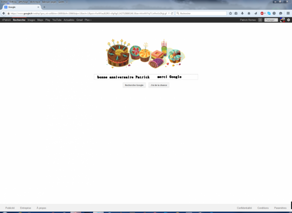 bonne anniversaire Patrick merci Google
