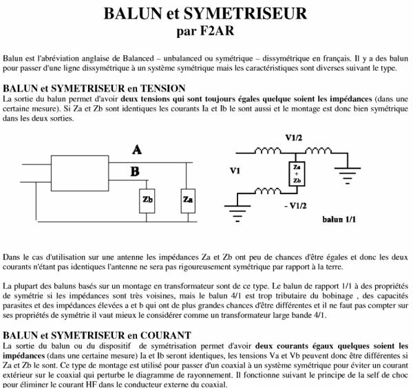 BALUN et SYMETRISEUR  par F2AR