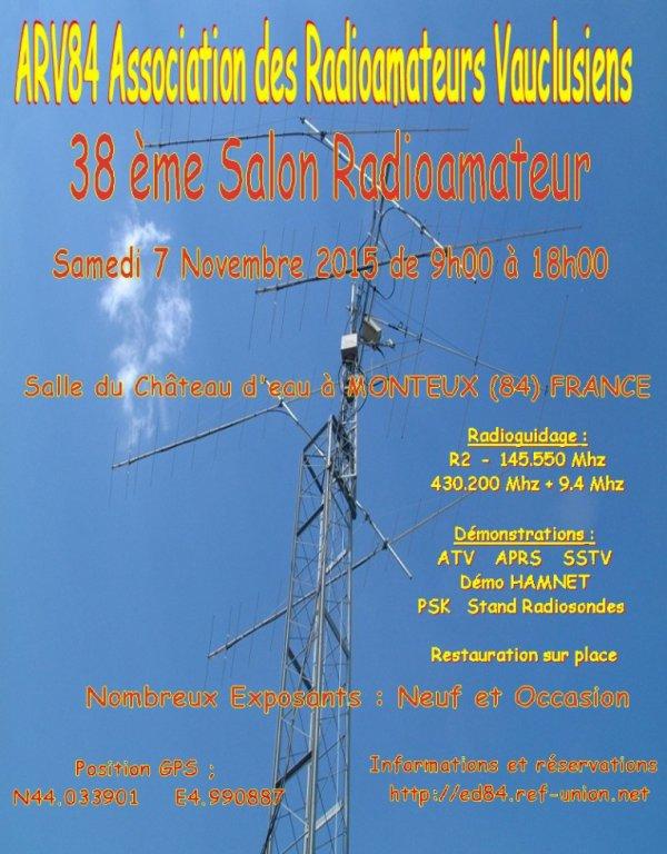 Le 38 eme Salon Radioamateur de MONTEUX sera le  Samedi 7 Novembre 2015